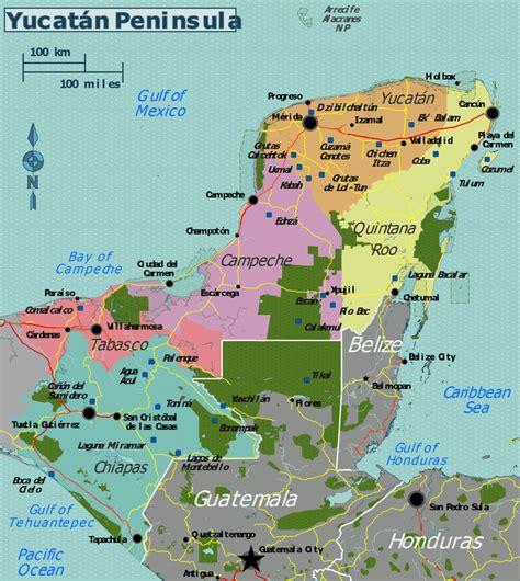 printable map of yucatan peninsula maya archaeological ruins in the yucatan