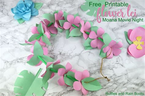 printable lei flowers paper flower lei for moana movie night or party ruffles