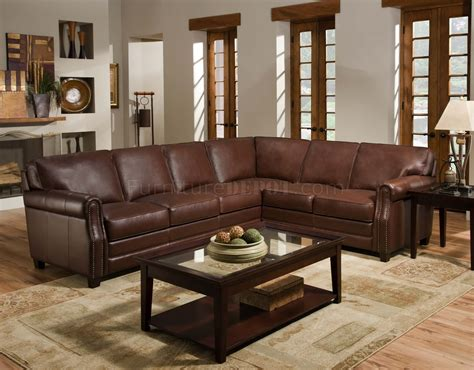 Traditional Leather Sectional Sofa by Cocoa Brown Top Grain Italian Leather Traditional