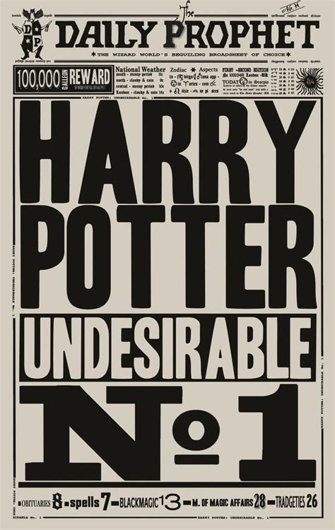 daily prophet template the daily prophet undesirable no 1 harrypotter harry