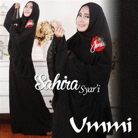 Kaos Muslimah Zahra Lengan Motif sahira hitam baju muslim gamis modern