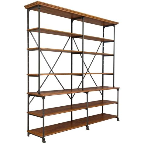 Oak Etagere 20th century parisian iron and oak 201 tag 232 re for sale at 1stdibs