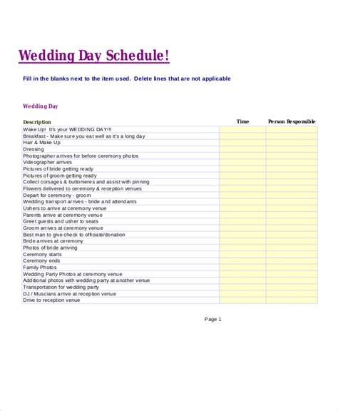 wedding day timeline schedule 10 wedding timeline templates free sle exle