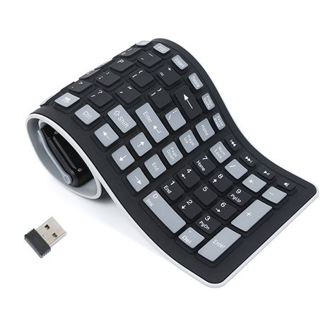 Keyboard Pc Votre 2 4g wireless keyboard folding letter 107key silicone rubber waterproof