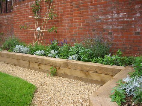 Raised Beds Railways Sleepers Gravel Path Brick Wall Garden Bed Walls