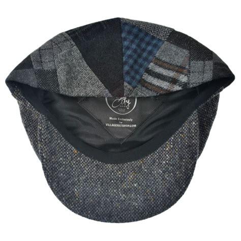 Patchwork Tweed Cap - city sport caps patchwork donegal tweed wool cap flat