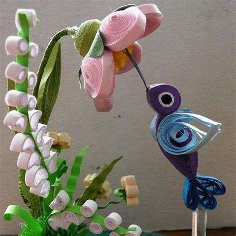 Kertas Paper Quilling 3 Mm Putih quilling 3d blue hummingbird quilled birds quilled quilling hummingbirds and