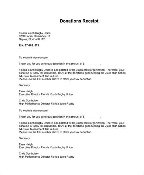 sample donation receipt letter templates