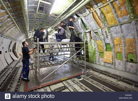 employees of company haitec aircraft maintenance work on