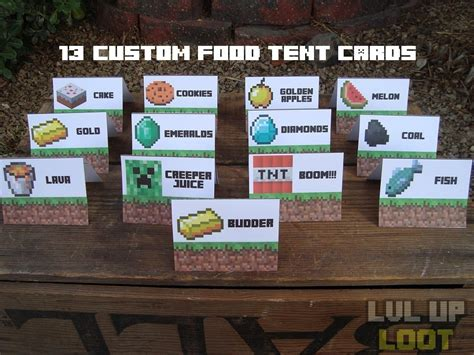 how to make food tent cards 8 best images of minecraft food printables card