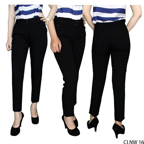 Celana Bahan Untuk Kerja Celana Bahan Wanita Untuk Kerja Katun Hitam Clnw 16