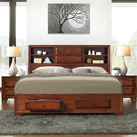 King Size Oak Bedroom Sets by Roundhill Furniture Asger Antique Oak Finish Wood King
