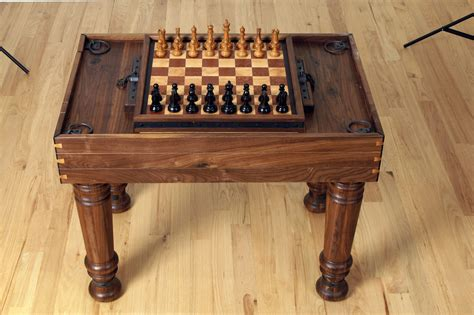 solid walnut custom rotating game table chess