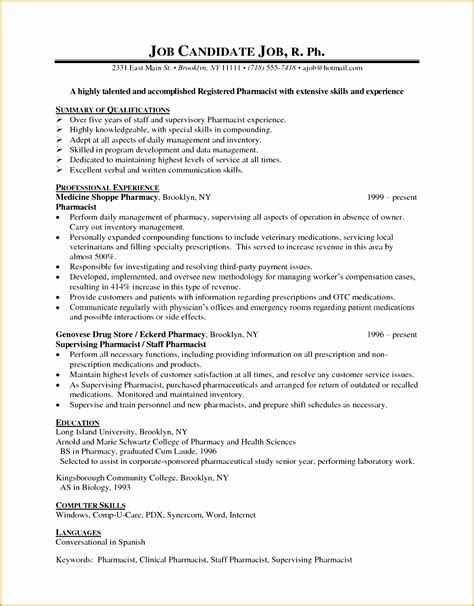 Pharmacist Resume Exle by 7 Pharmacist Curriculum Vitae Templates Free Sles