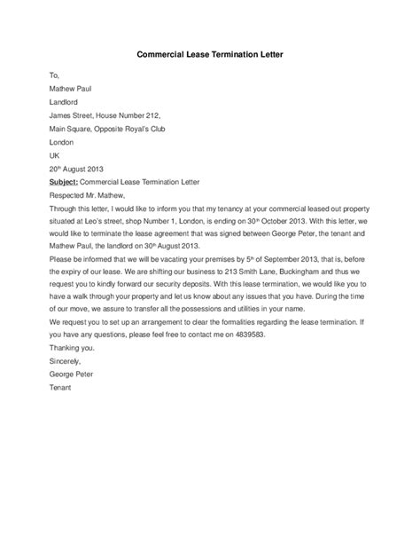 Termination Of Rental Agreement Letter Uk Commercial Lease Termination Letter Hashdoc