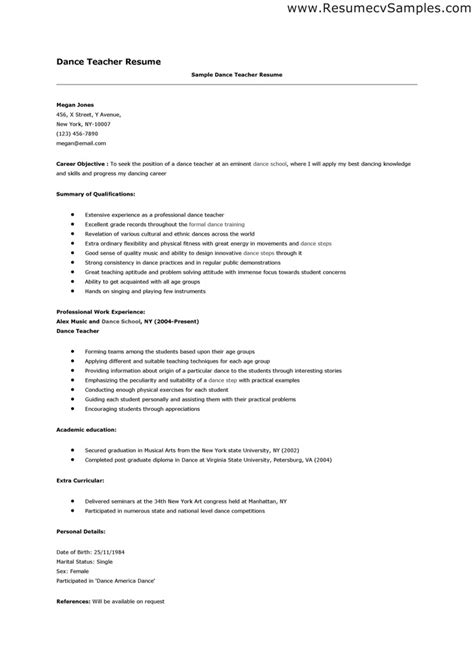 Dance Teacher Resume Template Resume Examples How To Write Dance Resume Template Ideas