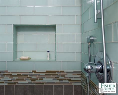 Glass Bathroom Tiles Shower Blue Green Glass Tile Mosaic Accent Band Brown Ceramic Tile With Shower Niche Home Tile