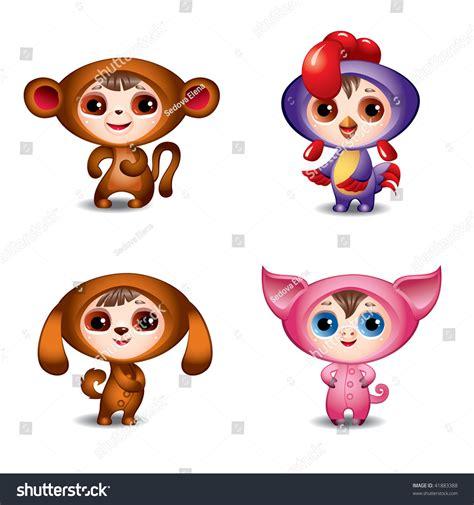 new year monkey pig zodiac signs third part monkey stock vector