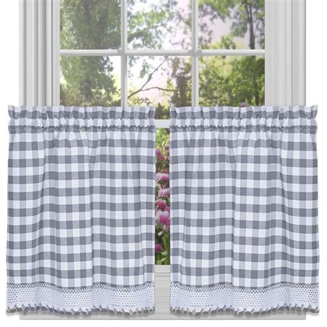 gray tier curtains achim buffalo check window curtain tier pair 58x36 grey