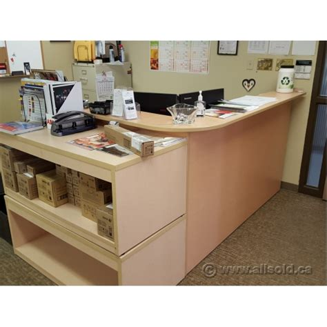 Blonde L Suite Reception Desk With Transaction Counter Reception Desk With Transaction Counter