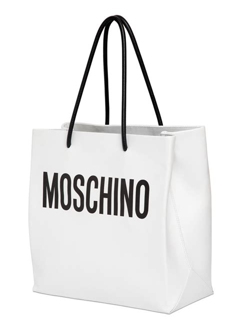Moschino Patent Shopper Bag moschino moshino shopping leather tote bag in white lyst