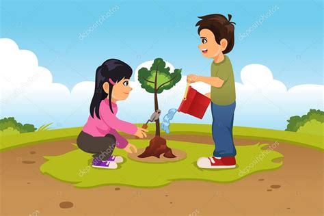 imagenes niños sembrando ni 241 os plantando y regando un 225 rbol vector de stock