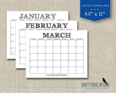 printable wall calendar fun casual rustic black