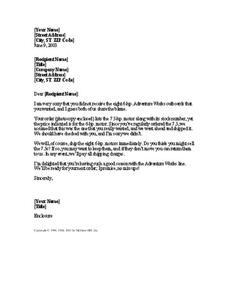 Explanation Letter Template Explanation From Supplier With Corrected Order Word 2003 Or Newer Letter Sles And