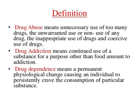 Definition For Detox by Addiction And Abuse Ppt