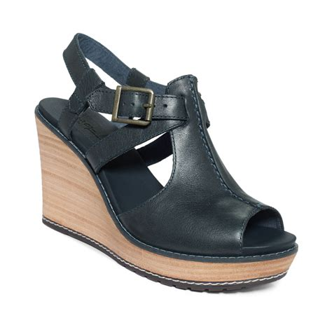 timberland womens danforth platform wedge sandals in blue