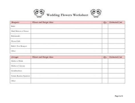 printable wedding flowers worksheet wedding flowers worksheet