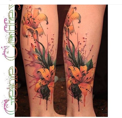 watercolor tattoos queens ny watercolor flower lilies