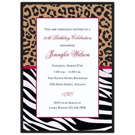 cheetah and zebra birthday invitations paperstyle