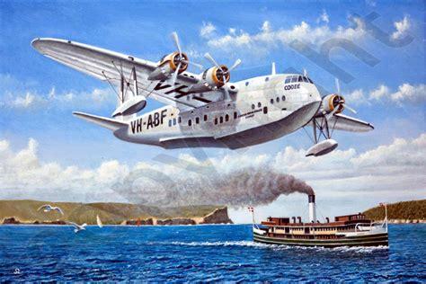 qantas flying boat photos qea short s23 flying boat steve leadenham transport art