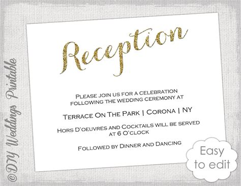 diy reception card template wedding reception invitation template diy gold