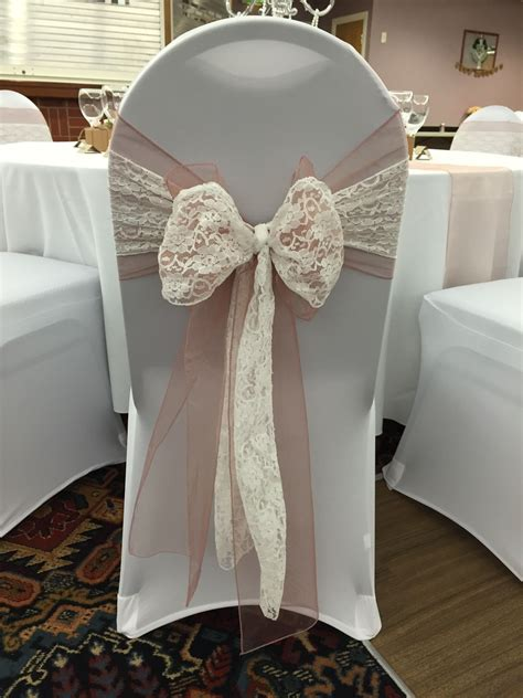 chair covers with vintage pink organza sash doubled up