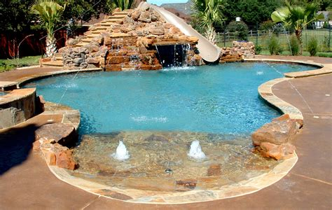 poolside designs inground pools with rock slides natural swimming pool