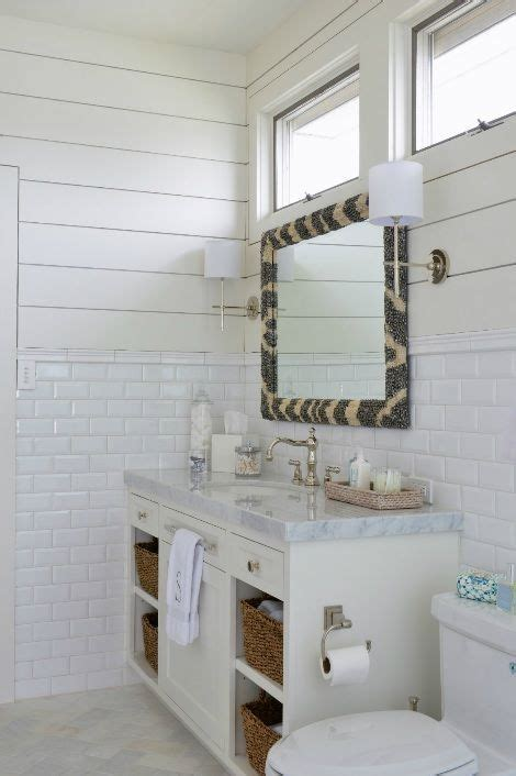 munger interiors bathrooms zebra mirror tongue  groove paneling beveled subway tiles