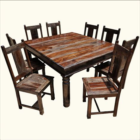 Rustic Square Dining Table For 8 Rustic Square Large Solid Wood Furniture Dining Table Chair Set The Dining Table Chairs