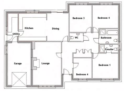 4 Bed Bungalow House Plans by Ground Floor Plan For The Home House Plans