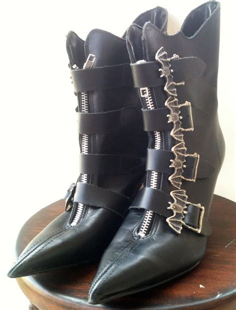 witch boots 90 s leather bat buckle witch boots size 7 by