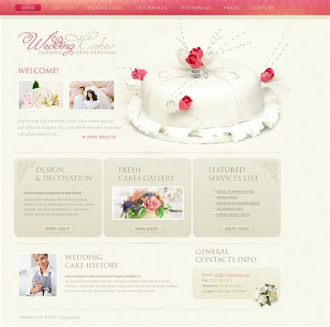 Wedding Cake Template by Wedding Cake Website Template Web Design Templates