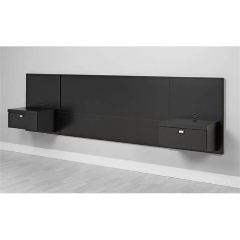 floating headboard platform storage bed with floating headboard in black