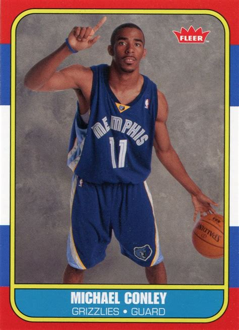 86 87 Fleer Basketball Card Template Photoshop by 2007 Fleer Basketball Card 86 87 Rookies 138 Mike Conley