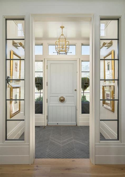 Front Door Vestibule Vestibule With Pale Blue Front Door Transitional Entrance Foyer