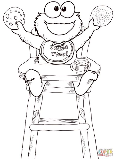 coloring pages of baby cookie monster cookie time for cookie monster coloring page free