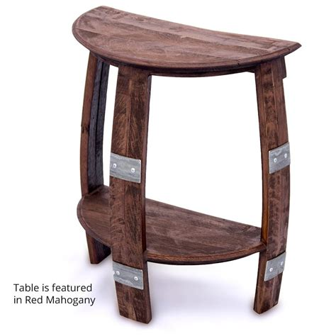 wine barrel end table wine barrel half end table with metal bands