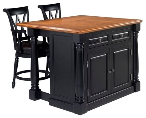 kitchen island and stools white and distressed oak home monarch black and distressed oak island and two stools