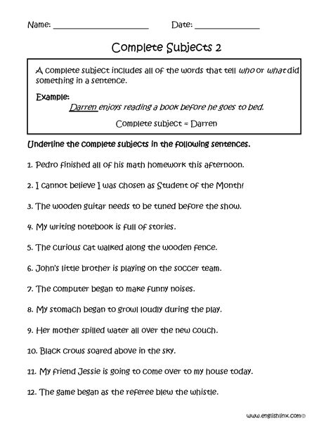 printable worksheets subject and predicate englishlinx com subject and predicate worksheets