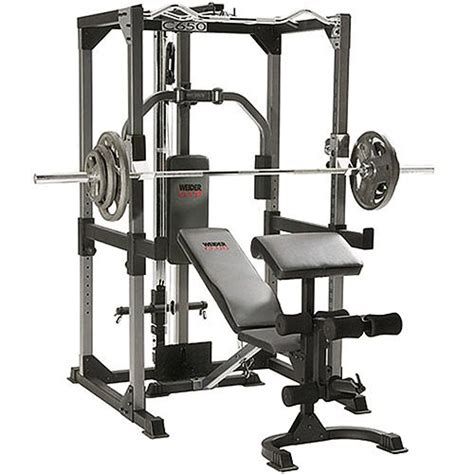 weider power rack with bench preacher curls olympic bar